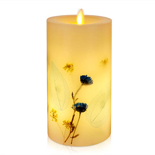 Di Maggio Flickering LED Flameless Candles with Lavender Vanilla Scent Moving Wick Warm White LED Tealight Fake Candles for Outdoor Indoor Home Party Wedding Decor Timer Control Battery Operate