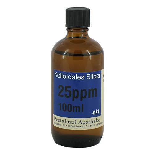 Kolloidales Silber 25ppm aus Apotheken-Herstellung - 100 % natürliches, kolloidales Silberwasser, ohne chemische Zusatzstoffe, Inhalt: 100 ml