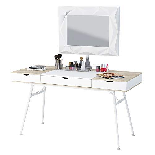 Boden - Scrivania scandinava/Tavolo scrittoio moderno/Tavolo elegante (120 cm, Bianco/Quercia Sonoma)