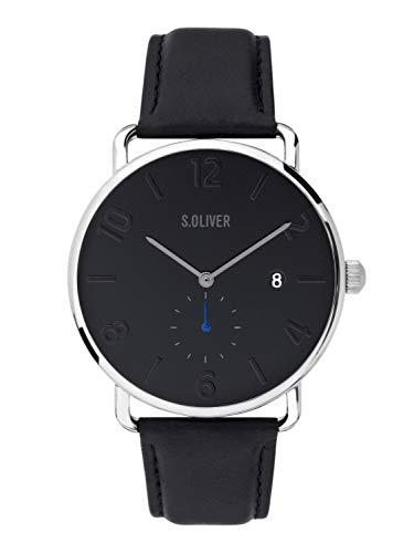 s.Oliver Herren Analog Quarz Uhr mit Leder Armband SO-3720-LQ