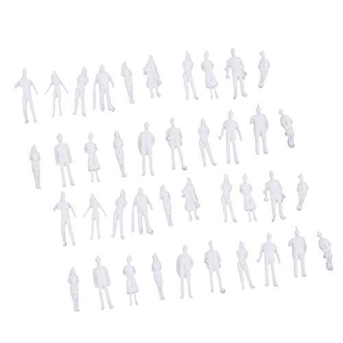 Homyl 40pcs Modellini di Persone Non Dipinti Figurini per Modellistica Scala 1:100 (Scala 0) Progettati per Costruttori di Modelli Professionisti