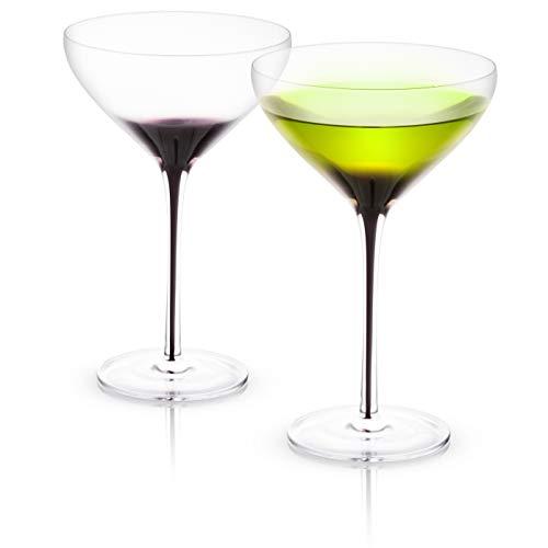 JoyJolt Black Swan Stemmed Martini Glasses, Premium Crystal Glassware, 10.5 Oz Capacity, Set Of 2