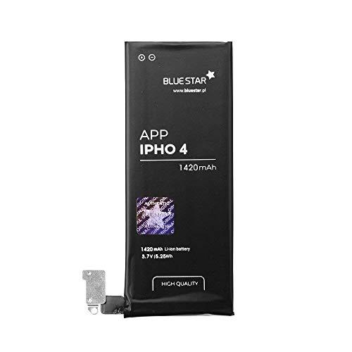 Bluestar Akku Ersatz kompatibel mit iPhone 4 1420 mAh Austausch Batterie Handy Accu APN 616-0513