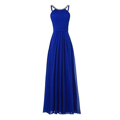 LIFU Vestido de boda largo vestido de noche de las mujeres fruncido sin mangas con cremallera hasta el piso vestido de una línea de vestidos de noche-azul_16azul