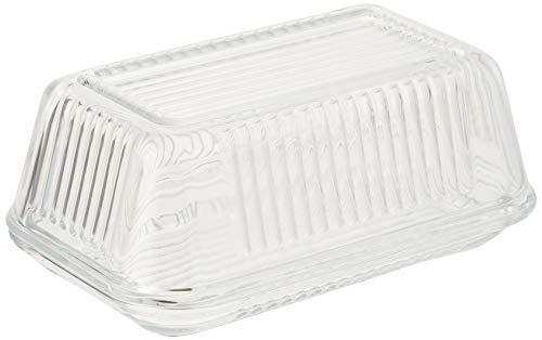 KitchenCraft Butterdose aus Glas mit Deckel, Vintage-Style, 17x10x7cm