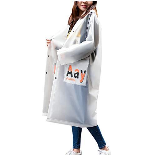 Women Hooded Raincoat EVA Adult Protective Anti-Dust Windproof Sustproof Rain Jackets, White6