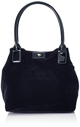 TOM TAILOR Shopper Damen Miri Velvet, Blau (Blau), 17.5x28x43 cm,Tasche Damen