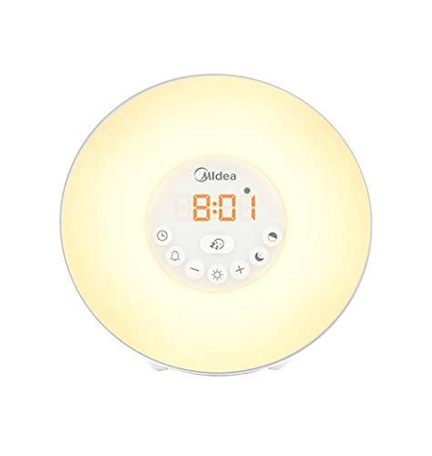 Reloj Despertador Sunrise, Reloj Digital con Luz De Despertador LED para Habitaciones con Control Táctil Luz De 7 Colores, 6 Sonidos Naturales, Simulación De Despertador/AtardecerSHMJ,Yellow