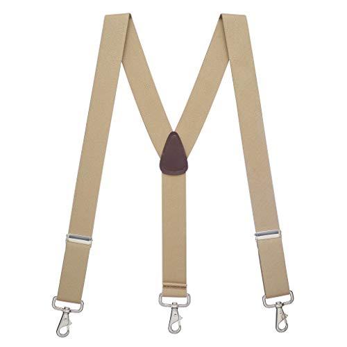 SuspenderStore Men's 1.5 Inch Wide Trigger Snap Suspenders - TAN
