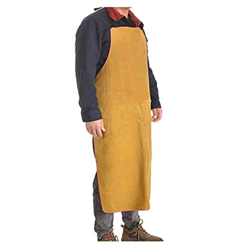 Welding Apron Leather Welding Apron, Heat-Resistant and Flame-Retardant Heavy Forged Apron, Welding Clothing (Color : Yellow, Size : 100cm)