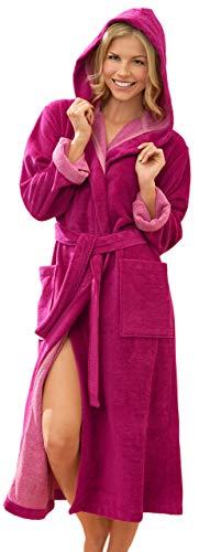 Morgenstern Bademantel Damen mit Kapuze Fuchsia lang Langarm Frauen Morgenmantel Damenbademantel Saunamantel Baumwolle Microfaser Viskose Größe L