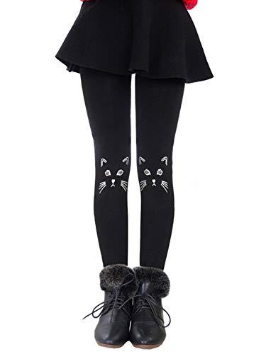 Govc Girls Winter Warm Fleece Lined Elastic Waist Velvet Stretchy Thick Leggings(Black Cat,M)