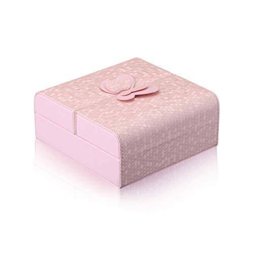 Secret night Jewelry Box, Organizer de Joyería para Pendientes Collar Pendientes Reloj Pulsera Joyería de Almacenamiento Caja para Mujeres Girls Regalo,Rosado