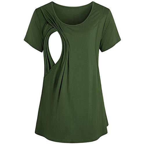 LISTHA Maternity Nursing Blouse Women Breastfeeding T Shirt Short Sleeve Tops Green