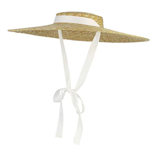Large Brim Sun Hats for Women Vintage Boater Straw Hat with Chin Strap Summer Flat Top Floppy Beach Sun Hats White