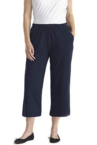 Ulla Popken Damen große Größen Übergrößen Plus Size 3/4-Jerseyhose mitternachtsblau 54+ 701161 77-54+