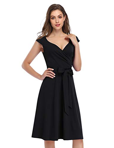 KOJOOIN Damen Vintage 50er V-Ausschnitt Abendkleid Rockabilly Retro Kleider Hepburn Stil Cocktailkleid Schwarz L