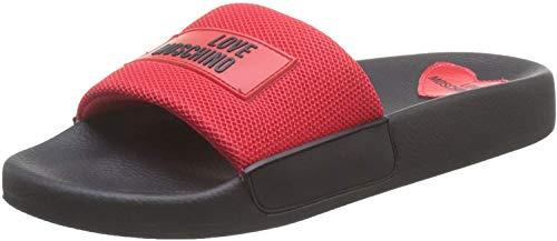 Love Moschino Sabotd.pool25 Rete, Zapatillas de Estar por casa con talón Abierto Mujer, Rojo (Red Patent 500), 36 EU