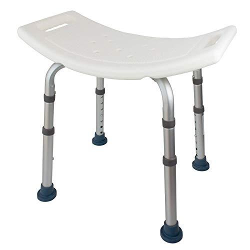 Mobiclinic, Orilla, Silla o taburete de baño, de ducha, ortopédica, aluminio y PVC, altura regulable, respaldo, reposabrazos, conteras antideslizantes