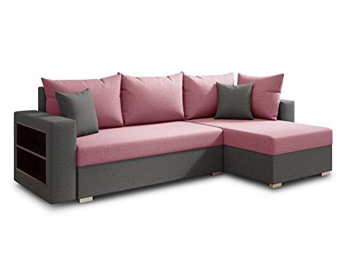 Ecksofa Lord mit praktischen Regal - Sofa mit Bettkasten und Schlaffunktion, Schlafsofa, Polsterecke, Couch L-Form, Couchgarnitur, Sofagarnitur (Grau + Pink (Alova 10 + 78), Ecksofa Rechts)