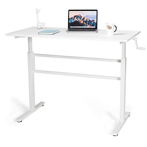 Tangkula Standing Desk, Height Adjustable Stand Up Computer Desk Workstation with Foldable Crank Handle, Writing Study Desk, Ergonomic Computer Table for Home Office (White)