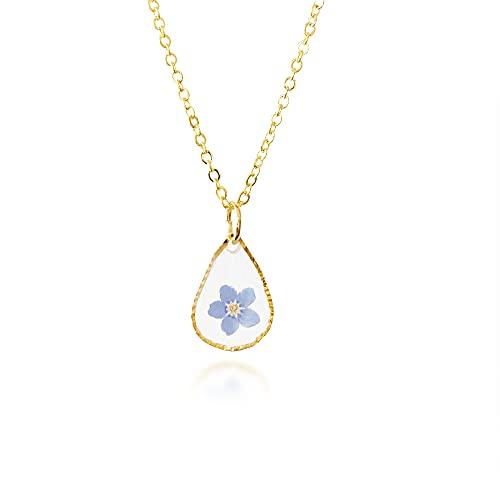 Lily- No me olvides collar   Joyas de flores reales   Collar botánico   Joyería de la naturaleza   Joyería de resina   Regalo único para mujeres   02VW