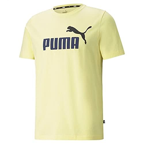 PUMA Herren T-Shirt - ESS+ Essentials 2 Col Logo Tee, Rundhals, Kurzarm, Uni Hellgelb 4XL