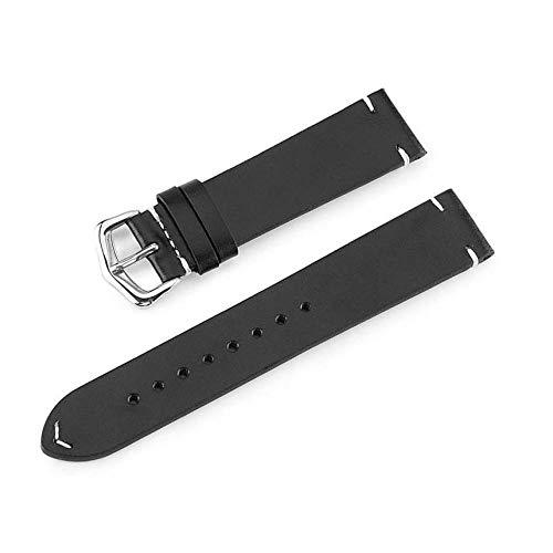 Correa de reloj de cuero para hombre y mujer 18 20 22 24 mm Marrón oscuro Azul oscuro Marrón claro Correa de reloj de gamuza gris-Negro_20mm