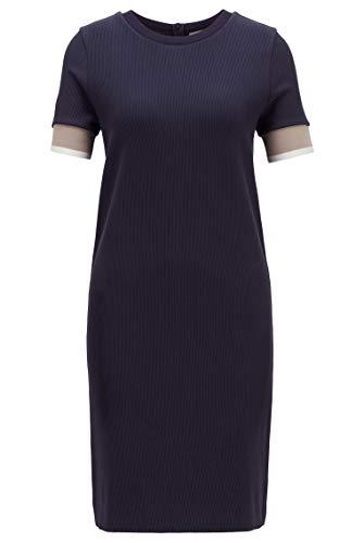 BOSS Damen Dastriped Kurzarm-Kleid aus Baumwoll-Mix mit Colour-Block-Bündchen
