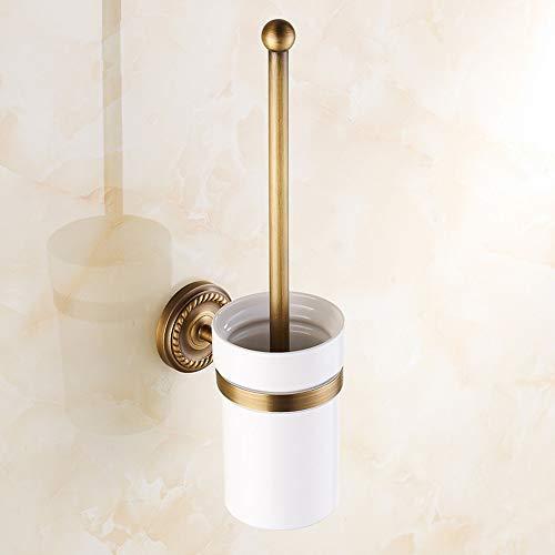 BigBig Home WC Toilettenbürstenhalter mit Keramik Becher und Bürste Retro Messing, Klobürstenhalter mit Anti Messing Finished, WC-Bürste und Halter Wandmontage