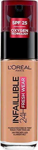L'Oréal Paris Infaillible 24H Fresh Wear Make-up 145 Rose Beige, hohe Deckkraft, langanhaltend, wasserfest, atmungsaktiv, 30ml