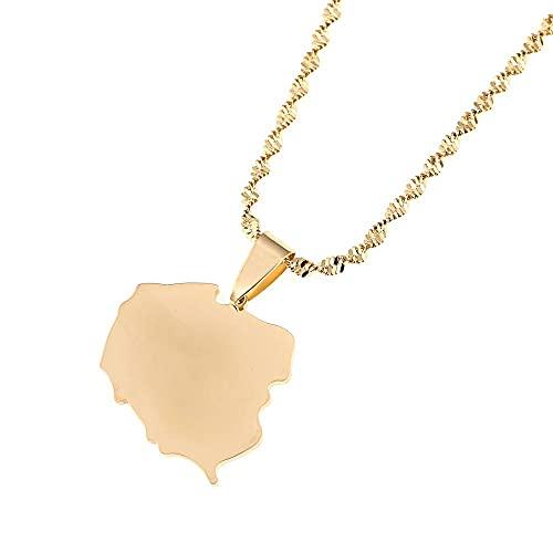 Collar con colgante de mapa de Polska de color dorado de acero inoxidable Mapa de joyería de encanto de Polonia