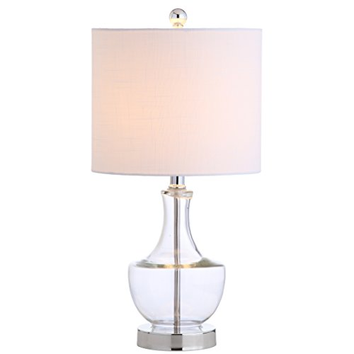 JONATHAN Y JYL1029A Colette 20u0022 Mini Glass LED Lamp Transitional,Glam,Global for Bedroom, Living Room, Office, College Dorm, Coffee Table, Bookcase, Clear