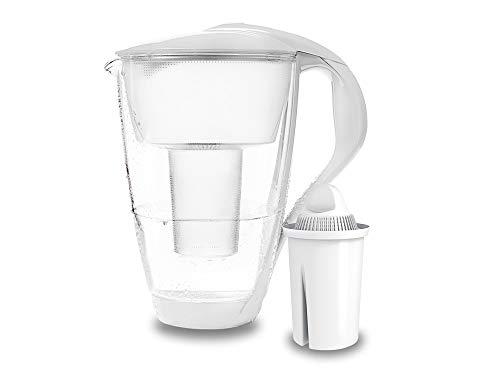 PearlCo - Glas-Wasserfilter (weiß) mit 1 classic Filterkartusche - passt zu Brita Classic
