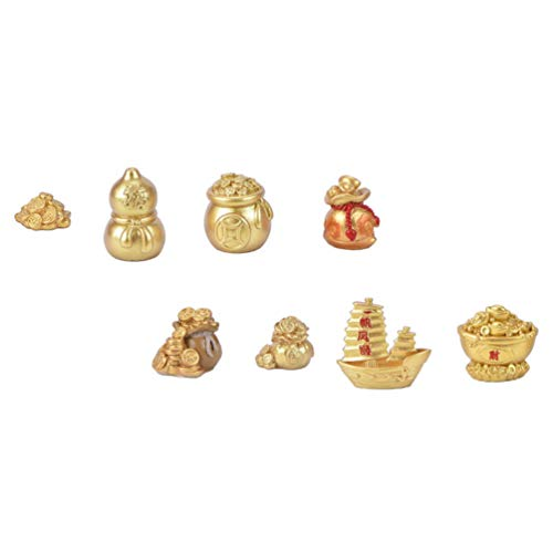 Cabilock 8pcs 2021 Chinese Fortune Coins Feng Shui Coins New Year Gold Coin Ornaments Coins Charm Bonsai Fortune Money Tree for Luck Wealth Health to Friends Family Lover (Golden)