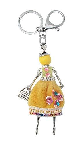 Brelok do kluczy, biżuteria kieszonkowa, sukienka, żółta, z kwiatami