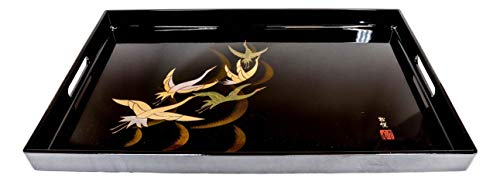 Ebros Made In Japan Traditional Japanese Colorful Flying Crane Birds 19 by 12 Large Black Serving Tray With Handles Lacquered Copolymer Display Platter Trays Serveware For Ottoman Coffee Table