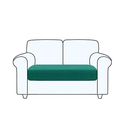 TAOCOCO Fundas de cojín para sofá, Protector de cojín de Asiento de Tela de poliéster de Alta Elasticidad (Verde Turquesa, 2 Asientos)