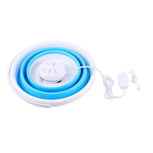 SEAAN Lavadora plegable, portátil Personal Lavadora compacta Turbinas ultrasónicas giratorias Lavadora alimentada por USB Lavandería conveniente para viajes (Mejorado)