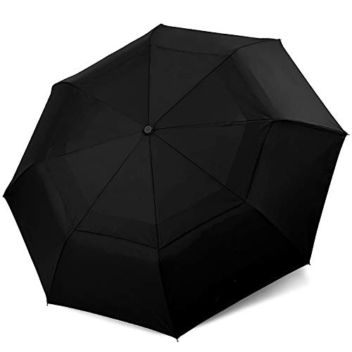 Cuby Travel Umberlla Auto Open/Close, Double Canopy Construction, Compact Lightweight Car Umbrella for Men & Women, Folds to 12.97 Inches, 8 Reinforced Ribs, Ergonomic Handle, Waterproof & Dry Fast
