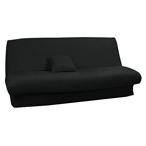 Antonouse - Funda de sofá cama extensible de 120 a 140 cm, 180 a 200 cm, color negro
