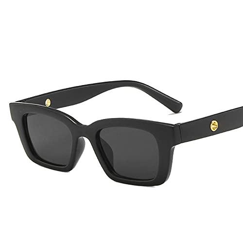 Gafas de Sol de Mujer rectangulares Gafas de Sol de Leopardo Gafas de Sol de diseñador de Marca Gafas de Sol de Ojo de Gato para Mujer Negro