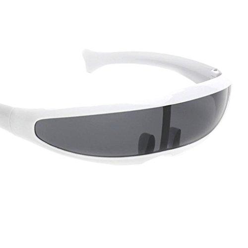 Sharplace 2xFuturistic Narrow Lens Visor Eyewear Gafas de Sol Marco Blanco Negro Espejado