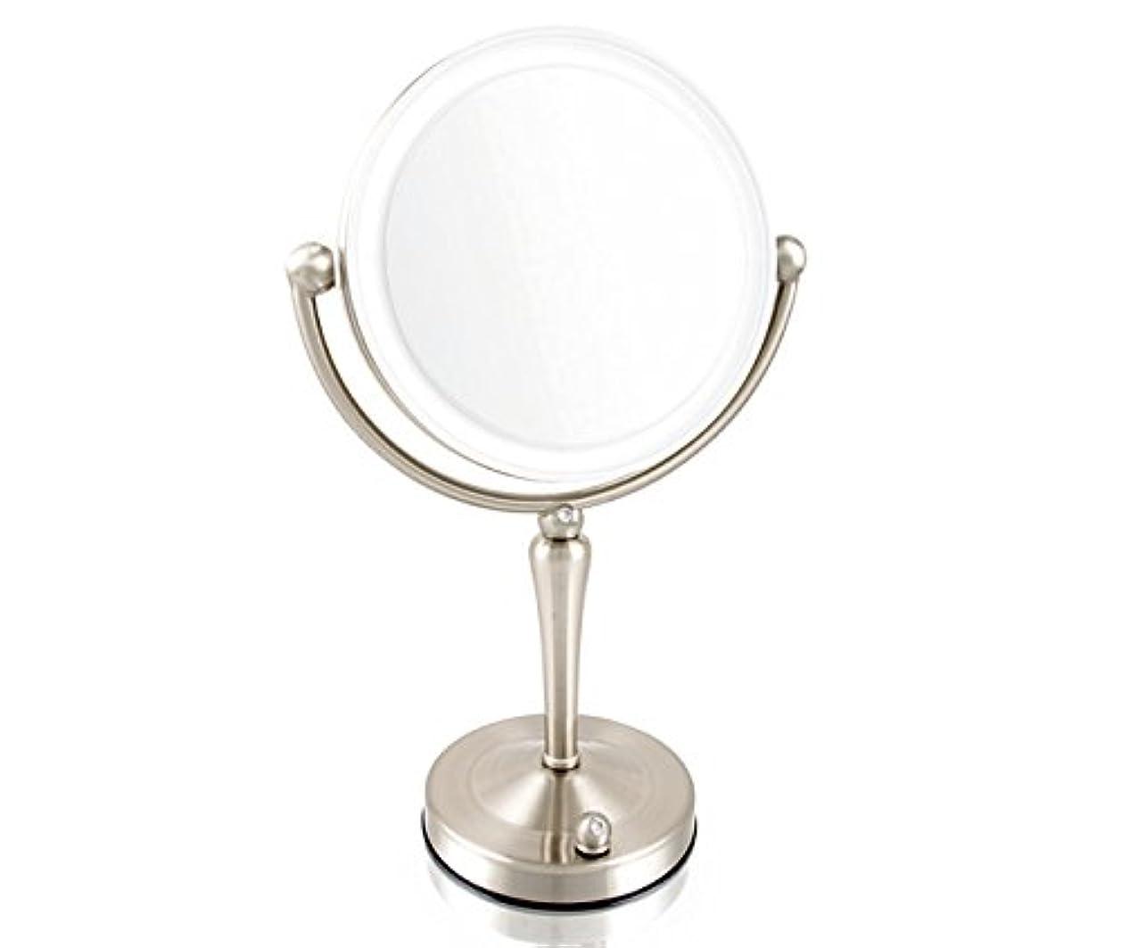 無駄に合理的年金受給者安もの拡大鏡とは見え方が全く違います!拡大鏡 5倍拡大+等倍鏡+LEDライト付き 真実の鏡DX 両面Z型 ブロンズ調 人気No.1両面型を真鍮仕上げとジルコニアで高級感UP。シミ?しわ?たるみ?毛穴が驚くほど良く見える拡大鏡を、くるっと返せば等倍鏡でとっても便利!