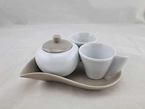 SUD IMPORT arredo cucina–Tazas Caffe tipo nuevo Juego de dos tazas con Bajoplato + azucarero colores surtidos–1Juego
