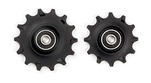 Elvedes 1 Kit de Galets de derailleur Narrow/Wide 1 x 12 + 1 x 14 Dents roulements annulaires INOX ABEC7 Cycle Mixte Adulte, Noir, 12 et 14