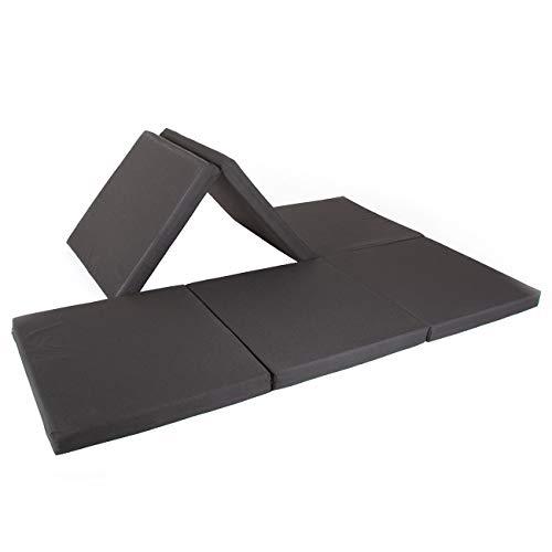 maxVitalis Doppel-Klappmatratze, Einzel- u. Doppelgästematratze, Schaumstoff extra breit (140 cm), doppelte Faltmatratze für 2 Personen, Bandscheibenwürfel, klappbar (Schwarz, 140 x 195 x 7 cm)