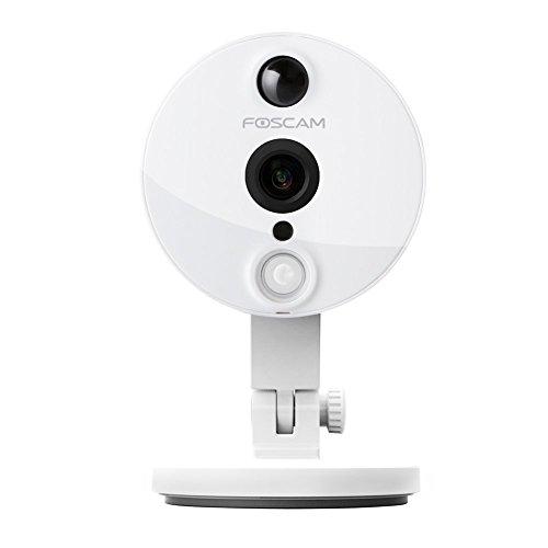 Foscam C2/W - Cámara IP de vigilancia de interior, 2 MP, función P2P, 1080p, 115º gran angular, WiFi, color blanco