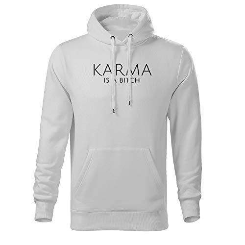 DELUNO Karma is a Bitch Kapuzenpullover für Herren und Hoodie für Männer (425 Scape Weiß M)
