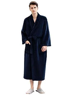 Mens Robe Knee Length Soft Sleeves Plush Shawl Sleepwear Shower Nightgown Kimono Spa Plus Size for Men Bath Robes